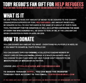"TWITTER - @RegboBR - Raccolta fondi pro ""Help Refugees"", a nome di Toby Regbo"