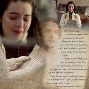 Mary Stuart, in partenza per la Scozia, legge la lettera di Francis.